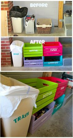 Repurposed Wooden Crate Recycling Bins - 20 DIY Home Recycling Bins That Help Yo. - Repurposed Wooden Crate Recycling Bins – 20 DIY Home Recycling Bins That Help Yo… Repurposed Wooden Crate Recycling Bins – 20 DIY Home Recycling Bins That Help Yo… Recycling Storage, Recycling Station, Diy Recycling, Recycling Containers, Recycling Center, Reuse Recycle, Repurposed Wooden Crates, Wooden Diy, Recycling Information