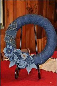 Denim Do Over | Denim Wreath Made From Thrift Store Finds | http://www.denimdoover.com