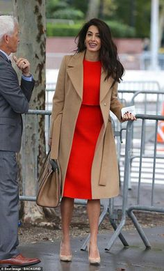 "Amal Clooney's Outfit Has Me Singing ""Lady in Red"" at the Top of My Lungs - Amal Clooney Red Dress September 2018 Source by alia_haidar - Mode Outfits, Dress Outfits, Fashion Outfits, Red Dress Outfit Casual, Red Coat Outfit, Hijab Outfit, Classy Dress, Classy Outfits, Classy Chic"
