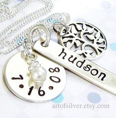 Mother jewelry- handstamped necklace - Tree of life charms - Personalized charms via Etsy