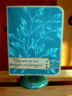 Sympathy Card using Coredenations paper and sanding it after embossing it.