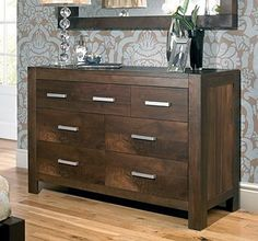 Lyon Walnut 4 + 3 Drawer Dresser is part of the extensive range of Lyon Walnut bedroom furniture which includes beds, nightstands,chest of drawers and wardrobes. Walnut Bedroom Furniture, Dark Wood Furniture, Home Furniture, Kitchen Dresser, 3 Drawer Dresser, Chest Of Drawers, Dressers, Bentley Design, Solid Wood Dresser