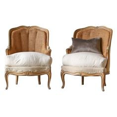 Pair Louis XV Style Bergeres - France - c1890