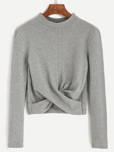 Shop Grey Mock Neck Twist Front Crop T-shirt online. SheIn offers Grey Mock Neck Twist Front Crop T-shirt & more to fit your fashionable needs.