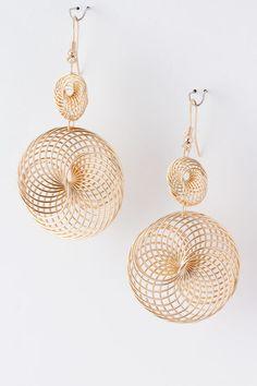 Golden Helix Chandelier Earrings on Emma Stine Limited
