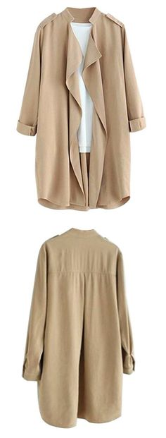 Women's Elegant Open Front Waterfall Trench Coat Cardigan