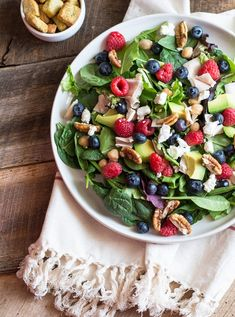 Berry and Pecan Spring Mix Salad with Vinaigrette, perfect red, white and blue salad for Memorial Day! | Lemons and Basil