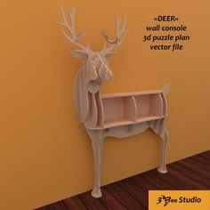Deer console puzzle plan vector file for CNC - Cardboard Crafts, Wooden Crafts, Metal Wall Art, Wood Art, Gun Safe Room, Router Projects, Cnc Wood, Wooden Animals, Scroll Saw Patterns
