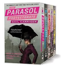 The Parasol Protectorate series, reading these now. Waiting for next Sanguire.