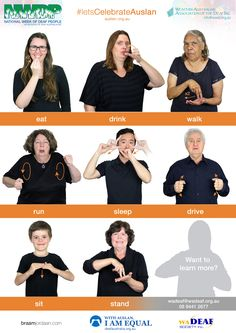 Free Auslan Posters - National Week of Deaf People Sign Language Book, Sign Language Chart, Sign Language For Kids, Sign Language Phrases, Sign Language Alphabet, Body Language, Australian Sign Language, American Sign Language, Australia For Kids