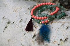Bracelets boho gipsy Aventurine et Corail par Indilly sur Etsy #Indilly #Indilly natural jewelry #naturaljewelry #heather #heatherbracelet #bracelet #bohobracelet #boho #bohochic #bohostyle #fashion #corail #aventurine #pompon #frenchcreation #handmade #hippy #gipsy #colors