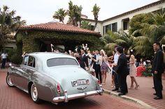style me pretty - real wedding - usa - california - santa barbara wedding - four seasons santa barbara - getaway car