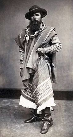 An AWESOME Mans Life - Portrait of a gaucho from Argentina photographed in Peru, 1868 Rio Grande Do Sul, We Are The World, People Of The World, Vintage Photographs, Vintage Photos, Cultures Du Monde, New Fine Arts, Auguste, Le Far West