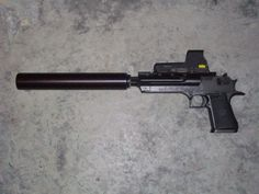 Suppressed D'eagle with holographic sight