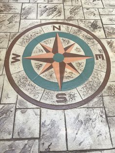 Stamped Concrete Designs, Concrete Stepping Stone Molds, Patio Paint, Acid Stain, Stone Walkway, Compass Rose, Nautical Home, Backyard Patio, Paint Ideas
