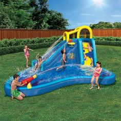 The kids will make big waves and even bigger dunks playing around on this Banzai Inflatable Big Blast Splash Slide Lagoon Pool Water Park this summer. Kids Outdoor Play, Outdoor Toys, Backyard Water Parks, Inflatable Water Park, Lagoon Pool, Play Centre, Pool Water, Water Slides, The Sims