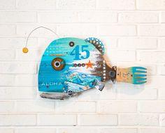 Tropical Decor, Coastal Decor, Corona Bottle, Alaska Flag, Beach Interior Design, Driftwood Wall Art, Hawaiian Decor, Fish Wall Art, Assemblage Art