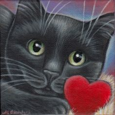 Valentine Kitty - Mini Painting