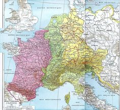 The Carolingian Empire at its greatest extent, with the three main divisions of 843.  Charlemagne King of the Franks, King of the Lombards, Emperor of Holy Roman Empire Carolingian.  My 39th great grandfather  Birth 2 April 742 in Leige, Allier, Auvergne, France  Death 28 January 814~House of History, LLC.