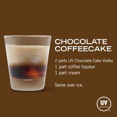 UV Vodka Recipe: Chocolate Coffeecake  2 parts UV Choc cake, 1 part coffee liqueur, 1 part cream.