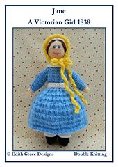This is Jane - A Victorian knitted doll. Jane is 28cms tall. This knitting pattern is worked flat and would suit a Beginner. http://www.ravelry.com/patterns/library/jane---a-victorian-doll-1838