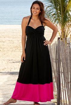 Beach Belle Pink Bandeau Halter Twist Front Plus Size Maxi Dress Women's Swimwear - Pink/black - Size:m