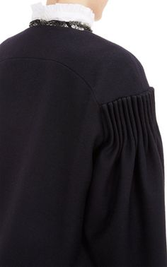 Cartridge Pleats - black coat with pleated sleeve detail; sewing inspiration; fabric manipulation // Dries Van Noten