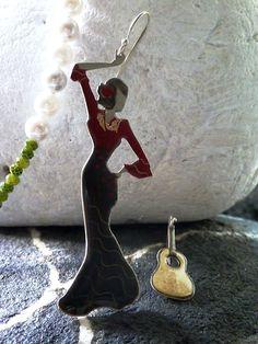Flamenco. Handmade-Handpainted earrings