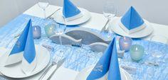 Tischdekoration zur Kommunion oder Konfirmation mit Türkisblauem Tischband, Teelichhhaltern in Türkis und Blau und modernen Fischen aus Zement Table Decorations, Diy, Home Decor, Blog, Christening, Mesas, First Communion, Cement, Do It Yourself