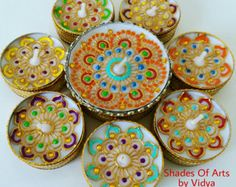 Set of 10 Big Tealight Candle Favors Indian by JustPaintingPetals