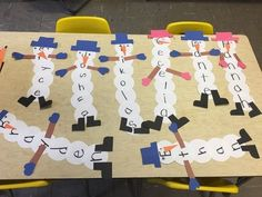 Preschool Snowman craft/ language & literacy first name recognition and spelling