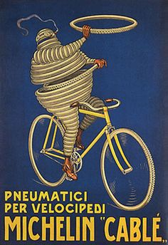 Italy michelin pneumatici tires for cycles bicycle bike vintage poster repro