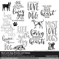 Must Love Dogs Brushes and Stamps quotes sayings and sentiments to pay tribute to your family pet PNG and ABR file formats #designerdigitals