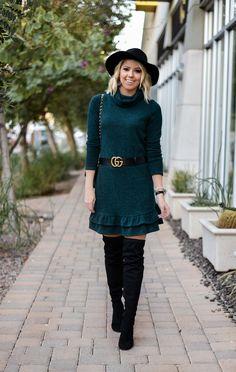 Erin Elizabeth of Wink and a Twirl Wearing Bella Rose Boutique Sweater Dress
