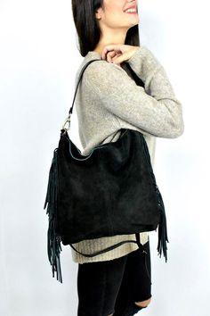 image 0 Suede Tote Bag, Tote Bags, Leather Bag, Fringes, Black Suede, Shoulder Bag, Trending Outfits, Image, Women