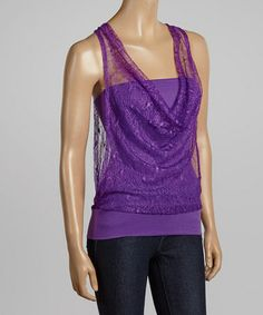 Another great find on #zulily! Plum Lace Tank by Jonathan K Apparel #zulilyfinds