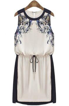 Beige Sleeveless Drawstring Floral Sundress - Sheinside.com
