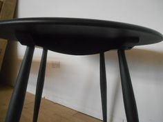 Ercol Chiltern Contract Table in solid oak and black 90cm diameter h75cm