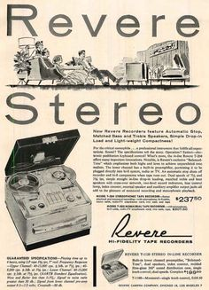 Another 1958 ad for Revere reel tape recorders featuring Artur Rubinstein, Marian Anderson, Andres Segovia, Zino Francescatti, Robert Casadesus and Lauritz Melchoir  in PPI's vintage tape recorder collection