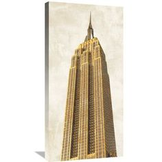 "Global Gallery 'Gilded Skyscraper II' by Joannoo Painting Print on Wrapped Canvas Size: 36"" H x 18"" W x 1.5"" D"