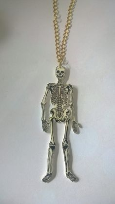 Hand drawn full skeleton shrink plastic necklace. by BeUniqueCrafting on Etsy