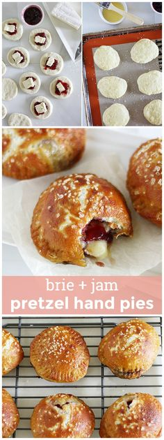 Brie & Jam Pretzel Hand Pies -- pretzel-ized hand pies filled with melty Brie cheese and sweet jam for a perfect bite-sized treat! girlversusdough.com @girlversusdough
