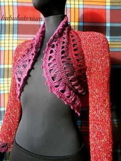 """Mulled Wine"" - Knitted Bolero With Crochet Broomstick Lace Decoration by babukatorium, via Flickr knit and crochet"