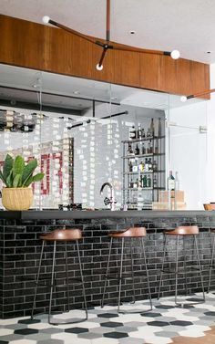 Port Street Mid-Century Modern - Patterson Custom Homes Basement Bar Plans, Basement Bar Designs, Modern Basement, Basement Ideas, Steel Doors And Windows, Basement Furniture, Modern Staircase, Mid Century House, Bars For Home