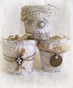 RESERVED for Sandra Altered Peat Pot Shabby White Decor von QueenBe