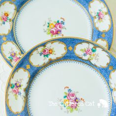 Two Early 1900 English bone china tea plates by TheButteredCat