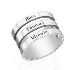 Super cute 3 name ring! Sterling Silver