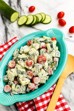 Cucumber and Tomato Salad with Creamy Herb Dressing by @farmgirlsdabble! So…