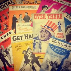 Sorting through my film sheet music.  It appears that I have 99 of them.  Clearly I'm going to have to go shopping as I can't leave it at an odd number like that.  #vintage #classichollywood #jamescagney #judygarland #genekelly #musicscore #sheetmusic by notfromthistime
