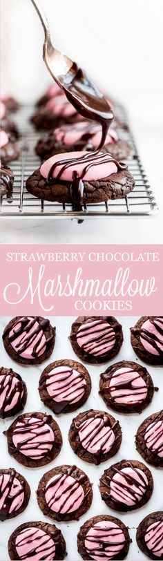 Marshmallow Cookies Strawberry Chocolate Marshmallow Cookies are rich chocolate brownie like cookies, topped with a pink strawberry marshmallow and drizzled with a buttery chocolate glaze. You won't be able to resist a second one. Chocolate Chip Marshmallow Cookies, Chocolate Marshmallows, Chocolate Brownies, Cookie Desserts, Fun Desserts, Cookie Recipes, Cake Cookies, Cookies Et Biscuits, Brownie Cookies